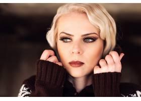 女人,模特,模特,妇女,绿色的,眼睛,白皙的,脸,口红,Bokeh,壁纸,