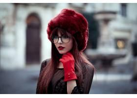 女人,模特,模特,妇女,女孩,玻璃,帽子,口红,深度,关于,领域,壁纸,