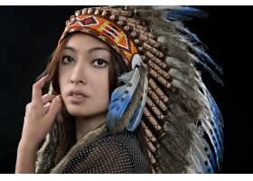 女人,当地的,美国的,妇女,模特,女孩,亚洲的,羽毛,棕色,眼睛,脸,