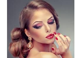 女人,脸,模特,妇女,女孩,化妆品,耳环,黑发女人,口红,壁纸,