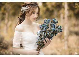 女人,新娘,妇女,模特,女孩,亚洲的,婚礼,穿衣,白色,穿衣,黑发女人
