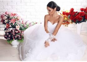 女人,新娘,妇女,模特,女孩,情绪,黑发女人,花,酒香,白色,穿衣,婚
