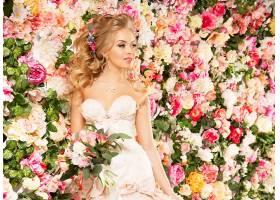 女人,新娘,婚礼,穿衣,妇女,女孩,模特,微笑,白皙的,蓝色,眼睛,花,