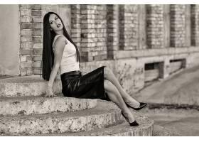 女人,模特,模特,女孩,脸,风格,裙子,腿,楼梯,黑色,白色,壁纸,