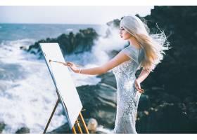 女人,亚洲的,妇女,女孩,白色,头发,海洋,绘画,情绪,白色,穿衣,模