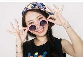 女人,亚洲的,妇女,女孩,黑发女人,棕色,眼睛,微笑,太阳镜,帽子,辫