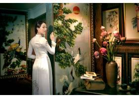 女人,亚洲的,女孩,安哥拉,奶妈,越南的,绘画,花,酒香,书,壁纸,