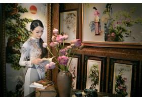 女人,亚洲的,女孩,安哥拉,奶妈,越南的,酒香,花,绘画,书,项链,壁
