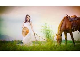 女人,亚洲的,妇女,模特,女孩,马,草,帽子,黑发女人,微笑,白色,穿