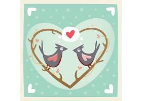 心形树枝矢量装饰插画设计