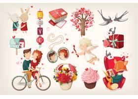 情人节气氛矢量装饰插画设计