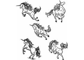 独角兽矢量装饰插画设计