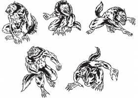 狼人形象矢量装饰插画设计