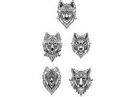 复古欧式狼头矢量装饰插画设计