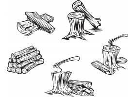 树木砍伐矢量装饰插画设计
