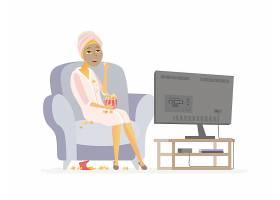 人物看电视矢量装饰插画设计