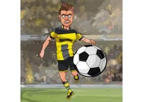 踢足球的卡通男人