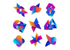 创意炫彩渐变结合图形形象创意LOGO设计