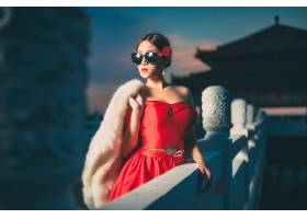 女人,模特,模特,妇女,女孩,红色,穿衣,太阳镜,毛皮,黑发女人,口红