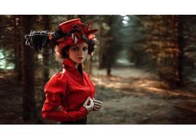 女人,模特,模特,妇女,女孩,红色,穿衣,户外的,帽子,羽毛,壁纸,