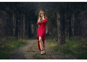 女人,模特,模特,妇女,女孩,红色,穿衣,深度,关于,领域,黑发女人,