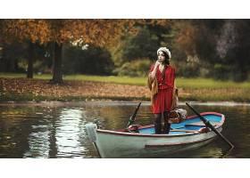 女人,模特,模特,妇女,女孩,红色,穿衣,黑发女人,帽子,小船,秋天,
