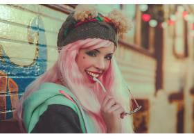 女人,模特,模特,妇女,女孩,微笑,口红,粉红色,头发,帽子,壁纸,