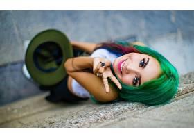 女人,模特,模特,妇女,女孩,微笑,口红,蓝色,眼睛,绿色的,头发,壁