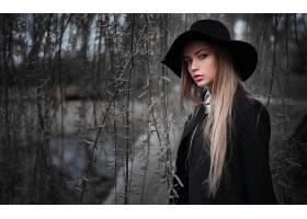 女人,模特,模特,妇女,女孩,帽子,白皙的,蓝色,眼睛,深度,关于,领