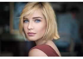女人,模特,模特,妇女,女孩,脸,白皙的,蓝色,眼睛,短的,头发,壁纸,