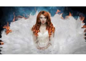 女人,艺术的,妇女,女孩,红发的人,幻想,白色,穿衣,火,热情,蓝色,