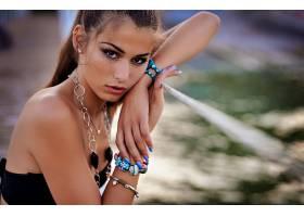 女人,模特,模特,妇女,女孩,深度,关于,领域,棕色,眼睛,项链,壁纸,