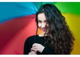 女人,模特,模特,妇女,女孩,雨伞,黑发女人,棕色,眼睛,口红,微笑,图片