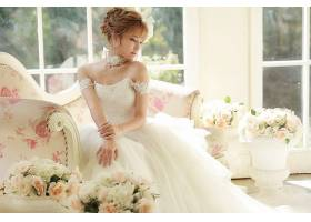 女人,新娘,妇女,女孩,婚礼,穿衣,白色,穿衣,情绪,酒香,花,黑发女