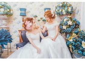 女人,新娘,妇女,女孩,婚礼,穿衣,黑发女人,微笑,亚洲的,酒香,花,