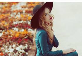 女人,情绪,妇女,模特,白皙的,蓝色,眼睛,Bokeh,帽子,口红,壁纸,