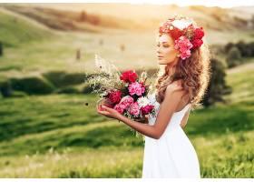 女人,模特,模特,女孩,白色,穿衣,酒香,妇女,花冠,黑发女人,壁纸,