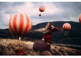 女人,情绪,手提箱,妇女,户外的,热的,天空,激增,风景,红色,穿衣,
