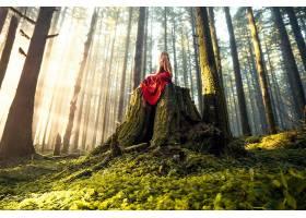 女人,情绪,女孩,红色,穿衣,森林,阳光,妇女,白皙的,壁纸,
