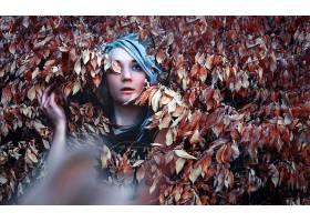 女人,情绪,妇女,模特,叶子,蓝色,眼睛,白色,头发,壁纸,
