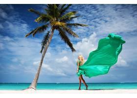 女人,情绪,妇女,模特,女孩,白皙的,海滩,热带的,穿衣,手掌,树,地