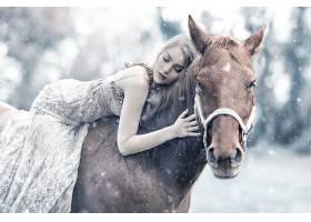 女人,情绪,妇女,模特,女孩,白皙的,马,白色,穿衣,Bokeh,降雪,壁纸