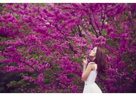 女人,情绪,妇女,模特,女孩,白色,穿衣,花,黑发女人,粉红色,花,壁