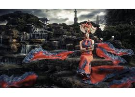 女人,亚洲的,妇女,模特,女孩,岩石,传统的,服装,壁纸,