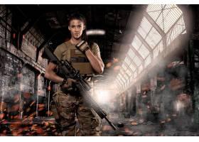 女人,女孩,枪支,妇女,模特,女孩,黑发女人,武器,攻击,步枪,飞机库图片