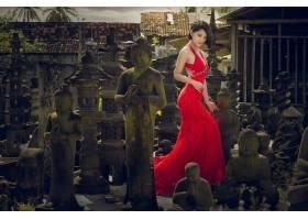 女人,亚洲的,妇女,模特,女孩,红色,穿衣,雕像,佛像,黑发女人,壁纸