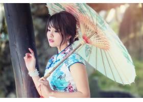 女人,亚洲的,妇女,模特,女孩,雨伞,黑发女人,棕色,眼睛,和服,口红图片