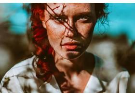 女人,模特,模特,妇女,脸,红发的人,雀斑,绿色的,眼睛,辫子,壁纸,