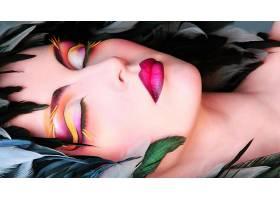 女人,脸,妇女,女孩,说谎的,向下,睡眠,化妆品,口红,壁纸,