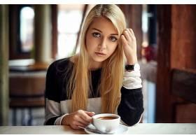 女人,模特,模特,白皙的,咖啡,深度,关于,领域,头发,蓝色,眼睛,女